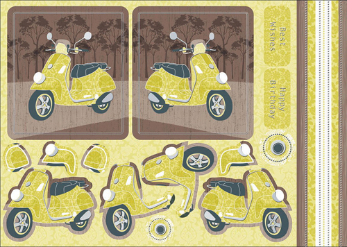 Modern Green Vespa Scrapbook Embellishments