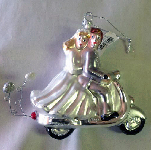 Bride and Groom Vespa Scooter Glass Ornament