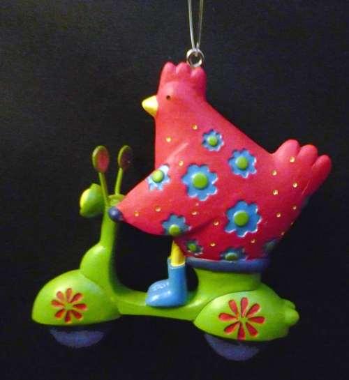 Chicken Vespa Scooter Ornament
