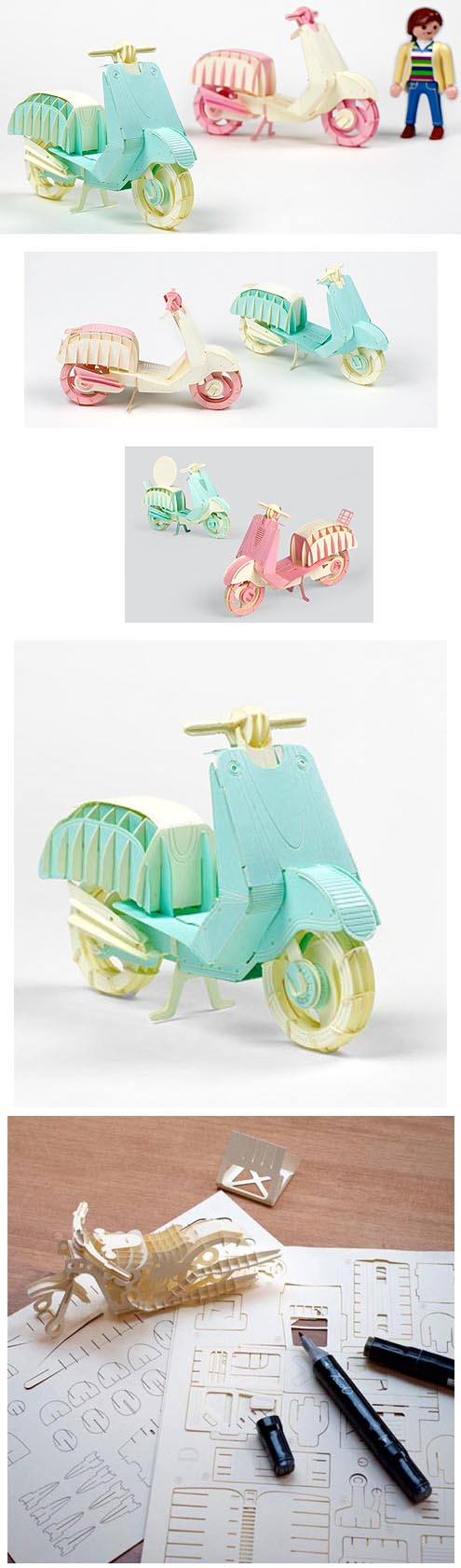 Papero Scooter Couples Paper Models Vespa