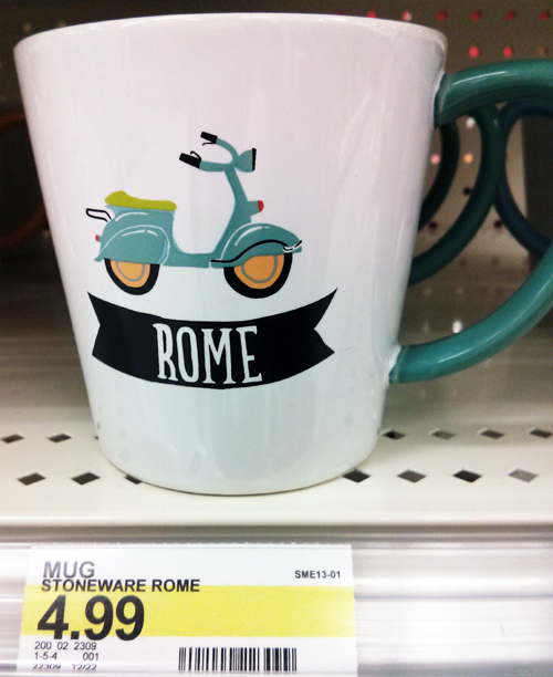 Target Coffee Tea Mug Blue Scooter Vespa Rome