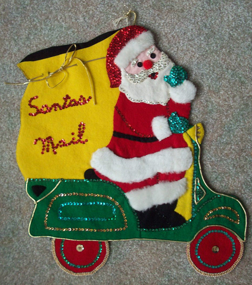 Santas Mail Scooter Vespa Santa Vintage Christmas Decor