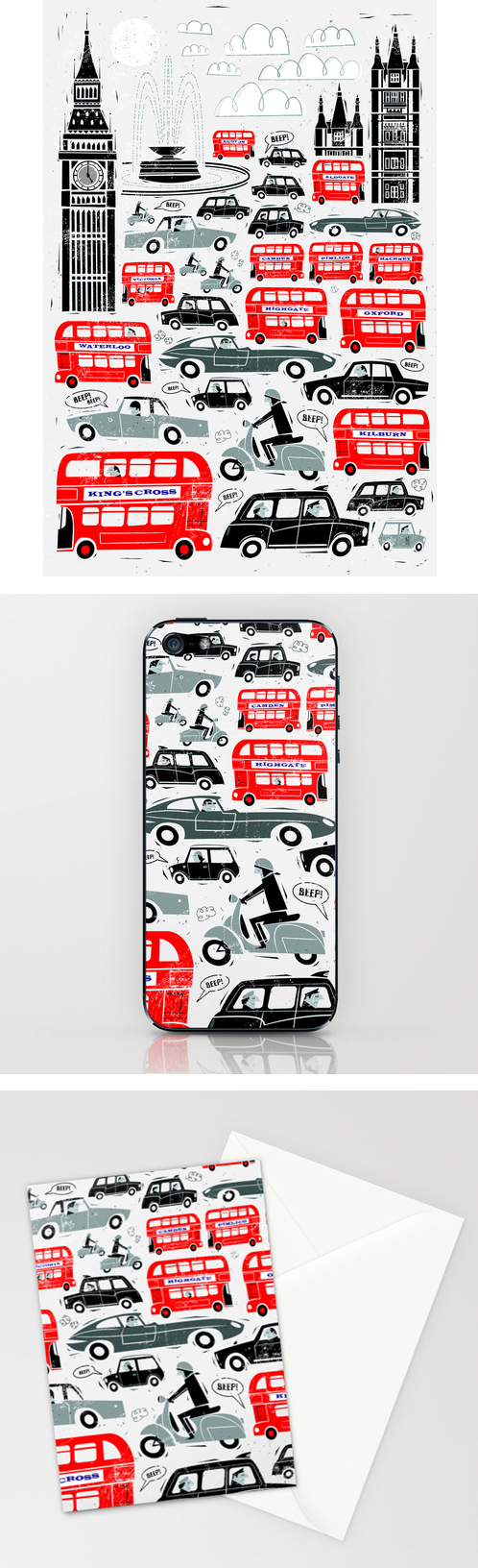 London Traffic Peter Donnelly Scooter Vespa Prints iphone cases