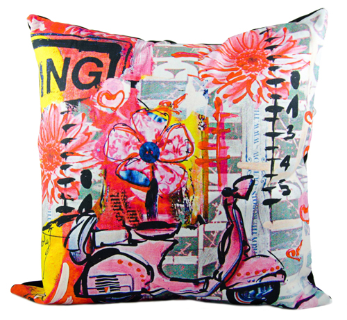 Pink Scooter Throw Pillow