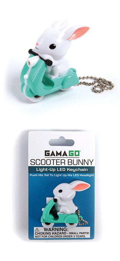 Gama Go Scooter Vespa Bunny Rabbit Easter LED Keychain