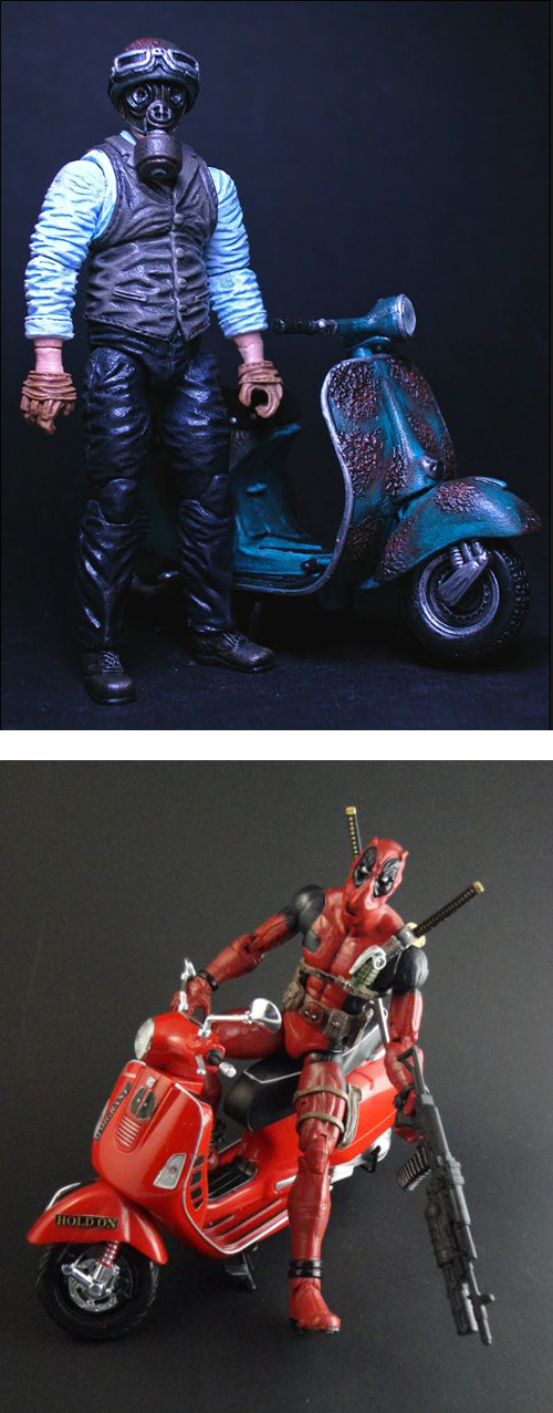 Gas Mask Vespa Scooter Dead Pool Figurines Custom Art