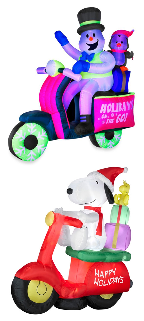 Snoopy Snowman Penguin Scooter Vespa Christmas Inflatables Yard Art