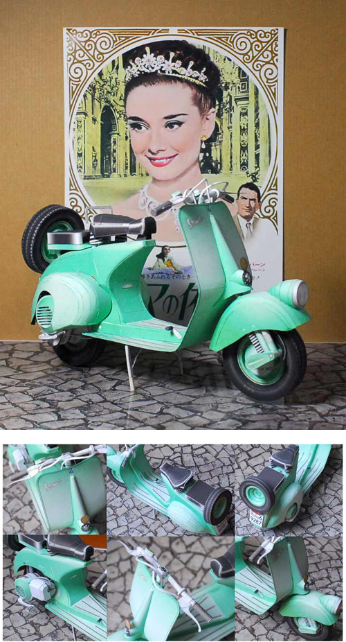 1952 Vespa Faro Basso Scooter Paper Model Roman Holiday