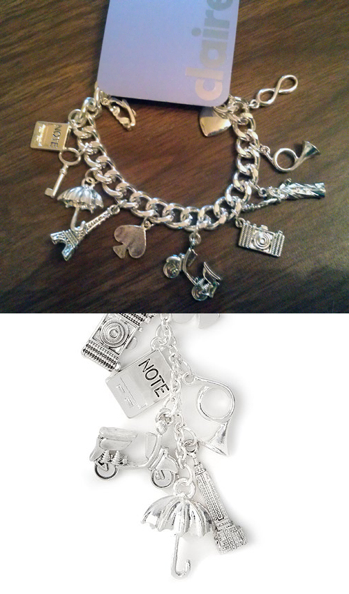 Claire's Boutique Travel Charms Vespa Scooter Bracelet Necklace