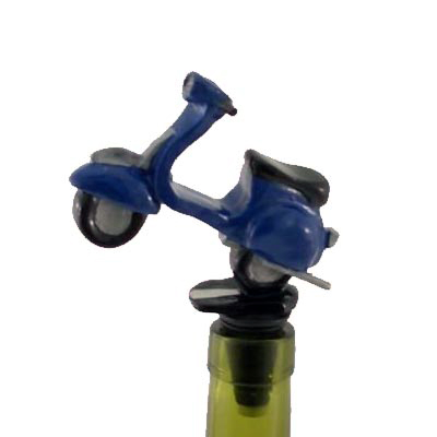 Scooter Vespa Bottle Wine Stopper Blue Cork