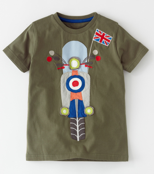 Boden Kids Boys Mod Applique Vehicle Scooter Lambretta Vespa