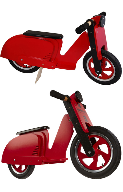 Red Lambretta Push Scooter Kiddimoto Riding Toy