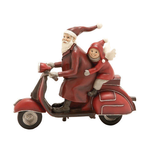 Santa and Child Christmas Scooter Vespa Figurine
