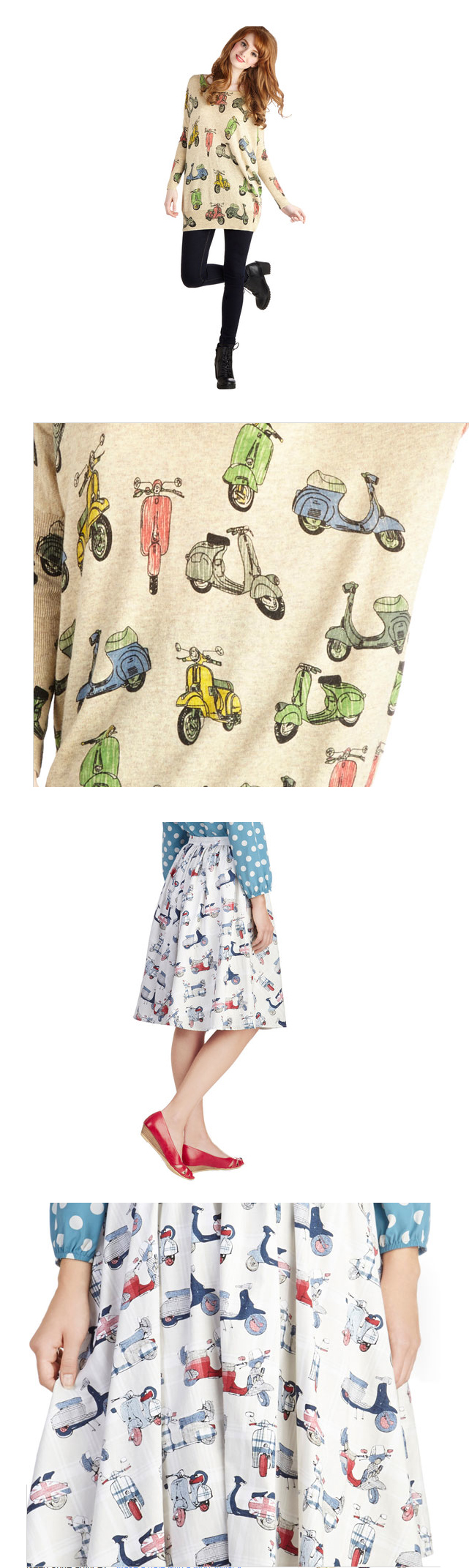 Scooter Vespa Clothing Skirt Shirt Sweatshirt Modcloth