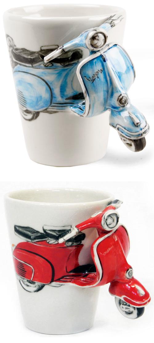 3D Scooter Vespa Coffee Tea Cups Mugs