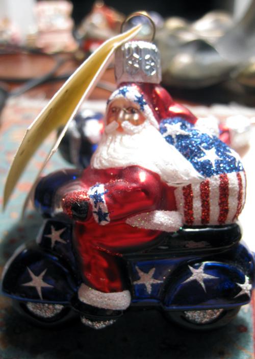 Patriotic American Scooter Santa Vespa