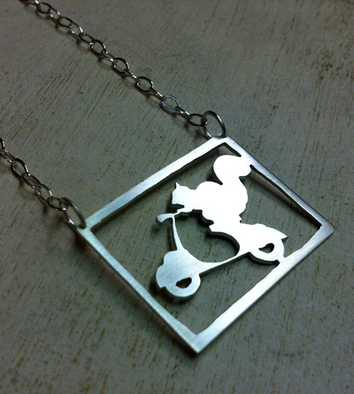 Scooter Stunt Squirrel Necklace Silver Charm