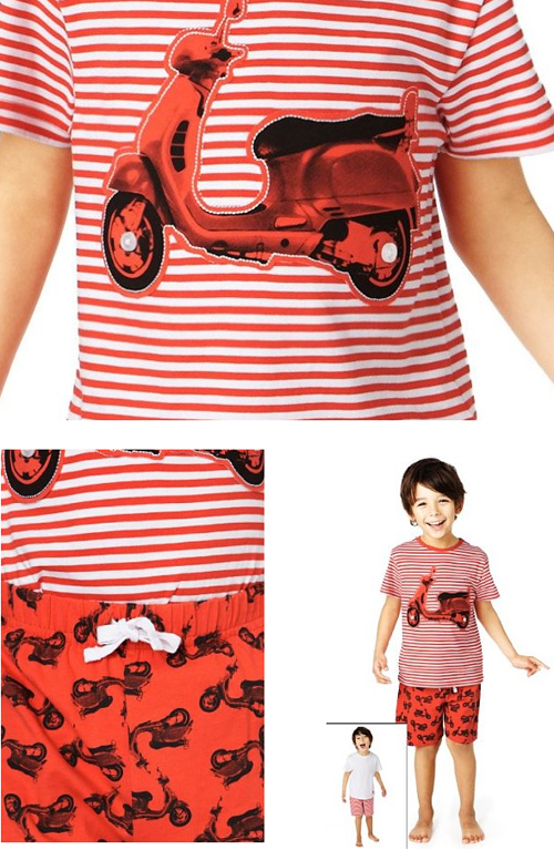 Marks Spencer Cotton PJs Scooter Vespa Red