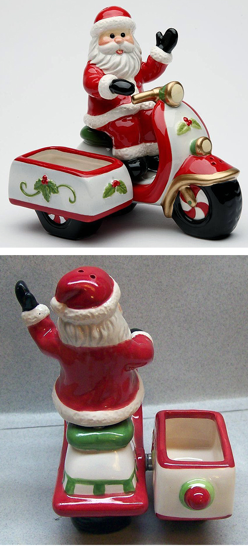 Santa Condiment Salt Pepper Shaker Sugar Holder Vespa Sidecar Scooter Lambretta