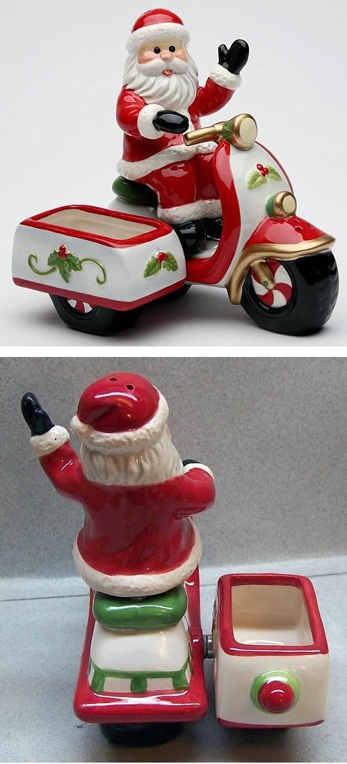 Santa Condiment Salt Pepper Shaker Sugar Holder Vespa Sidecar Scooter Lambretta