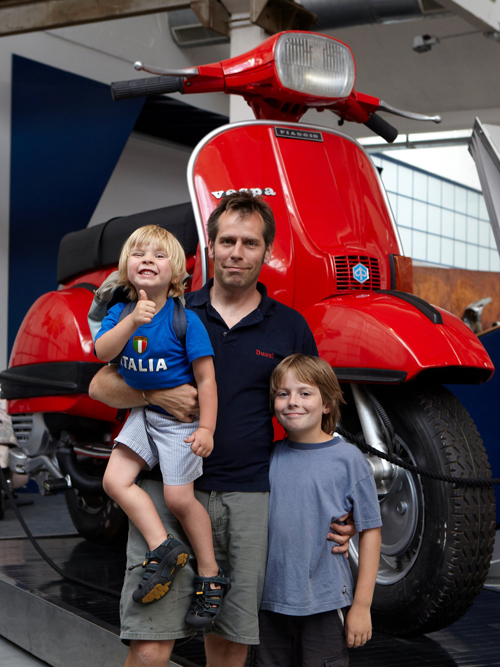 Allen Wallace & Kids at Piaggio Vespa Scooter Museum