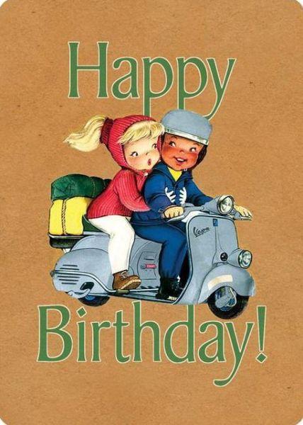 Laughing Elephant Happy Birthday Scooter Vespa Retro Vintage Card