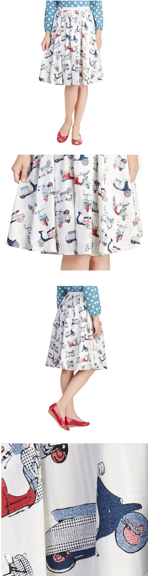 Traffic Patterns Skirt Vespa Lambretta Fabric ModCloth Mod