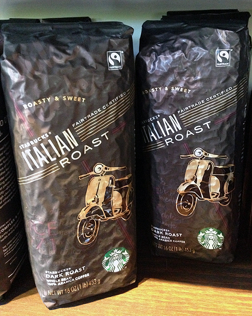 Fair Trade Italian Roast Scooter Vespa Packaging Starbucks