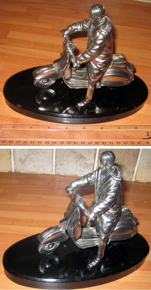 Silver Dreams Leonardo Mod Statue Figurine Silver Vespa Scooter