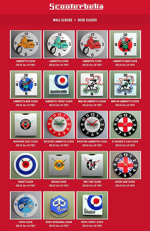 ScooterBelia Clocks Wall Desk Scooter Vespa Lambretta