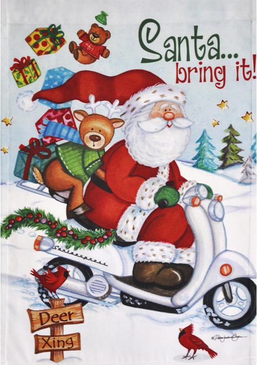 Santa Bring It Flag Banner Pennant Scooter Vespa Honda Metropolitan