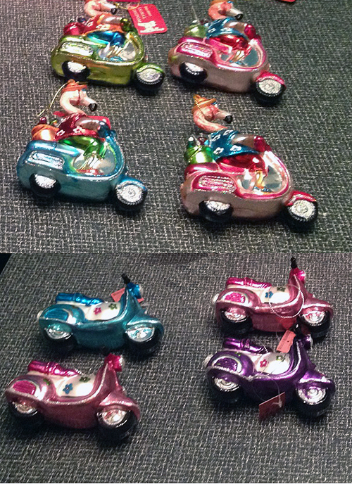 World Market Scooter Vespa Flamingo Christmas Ornaments