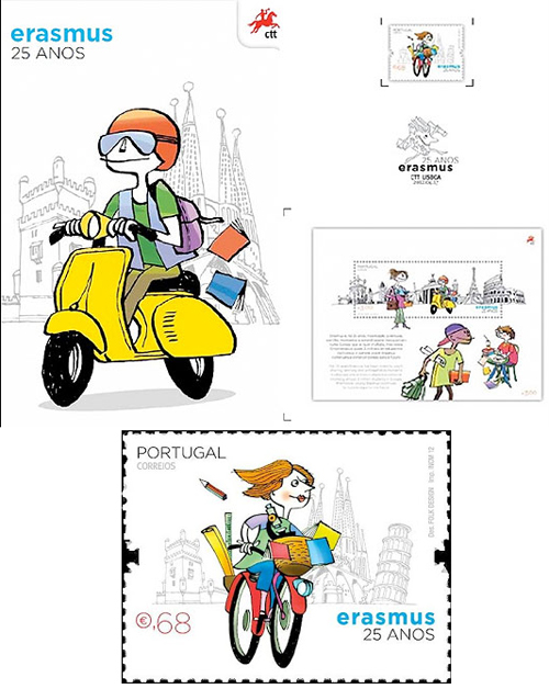 Erasmus College Portugal 25 year anniversary stamp scooter vespa