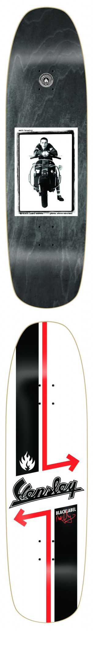 Hensley Vespa Scooter Black Label Skateboard Deck