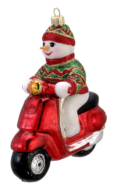 Kurt Adler Snowman Vespa Scooter Christmas Ornament
